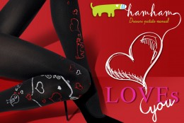 Ciorapi pictati cu inimi de Valentine's Day
